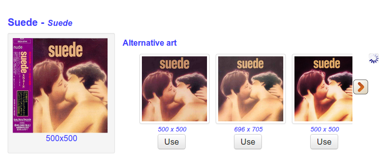New cover art alternatives page showing alternatives to Suede.