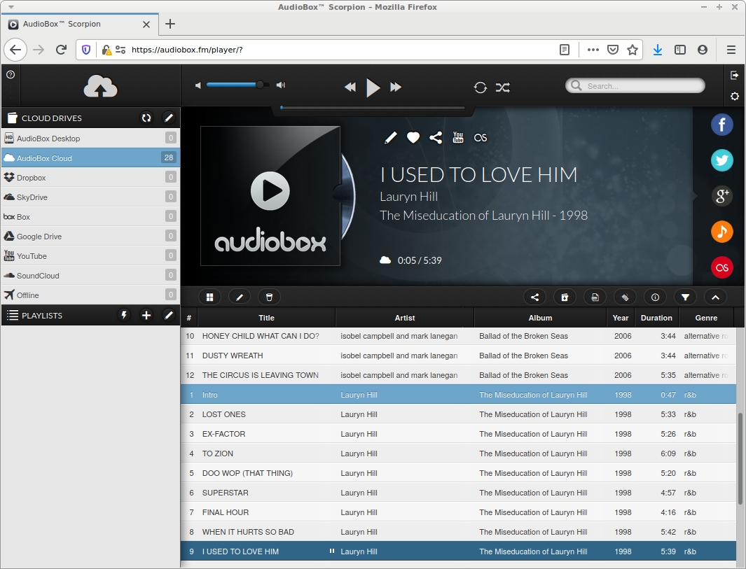 AudioBox tracks list for AudioBox Cloud