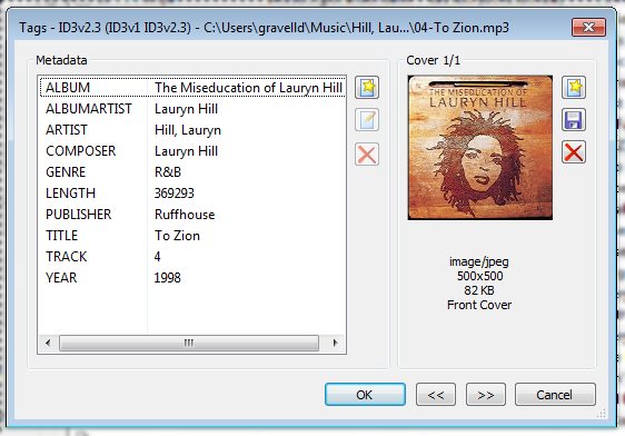 MP3Tag showing converted JPEG artwork