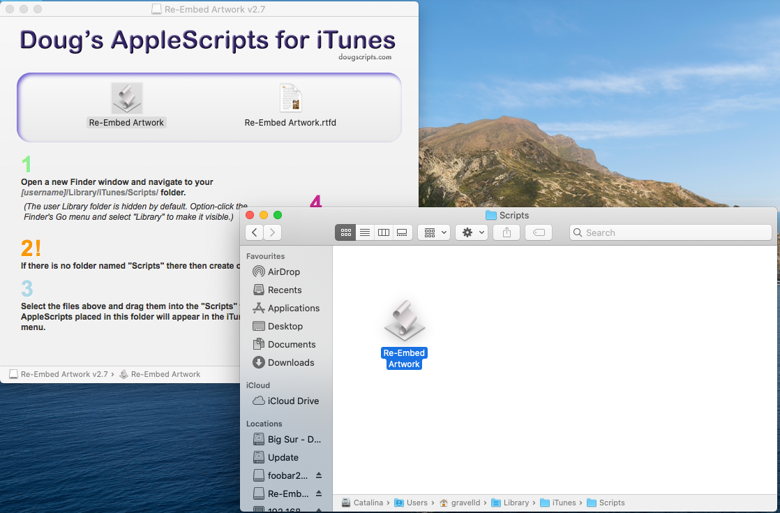 Dragging the Re-Embed Artwork script into the iTunes Scripts folder