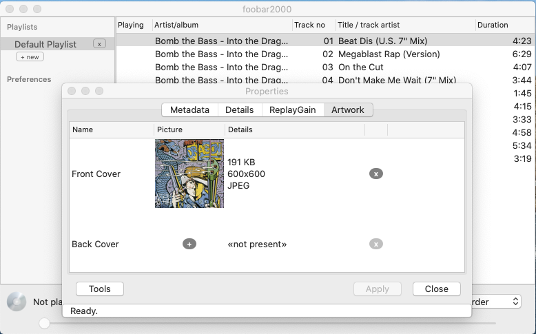 foobar2000 showing the artwork since it has been embedded