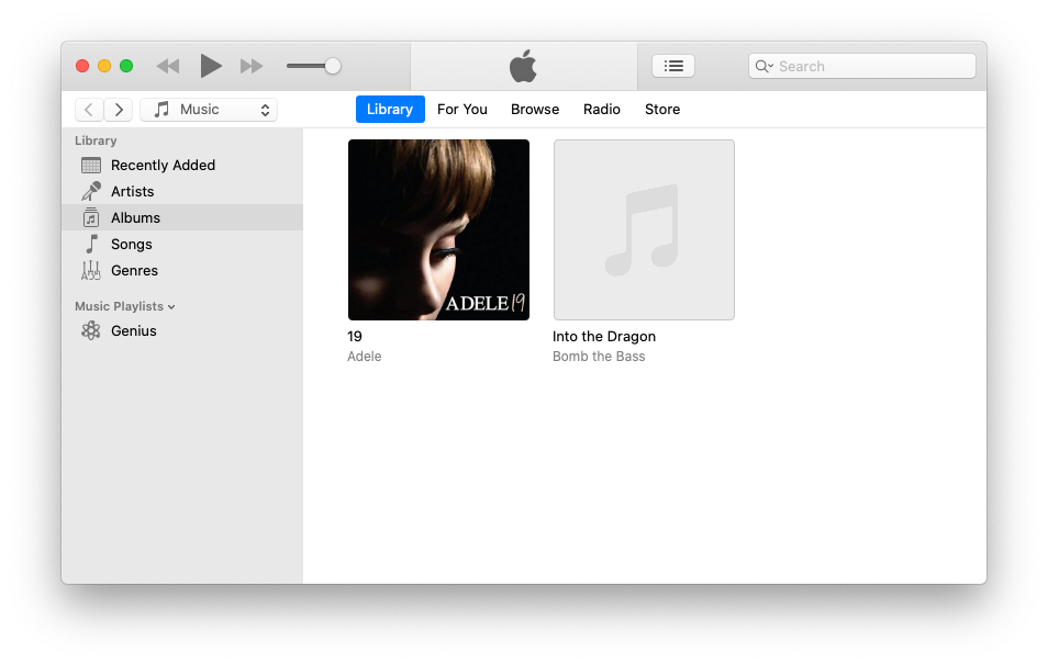 iTunes with album without artwork