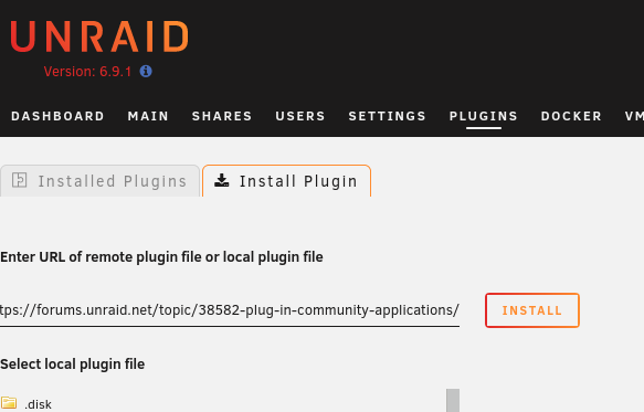 Installing the Community Applications plugin