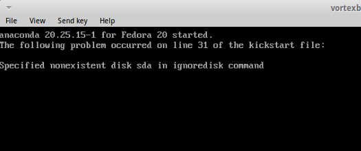 "Screenshot of ""specified nonexistent disk sda in ignoredisk command"" message"