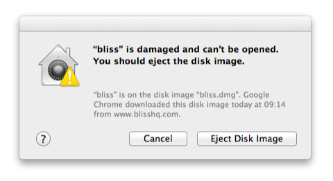 bliss is damaged and can't be opened. You should eject the disk image.
