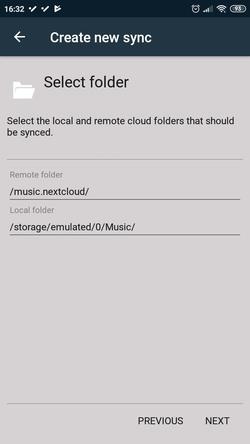 FolderSync select folders to synchronise