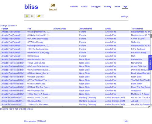 Release 20120403 - web based tag editor - bliss