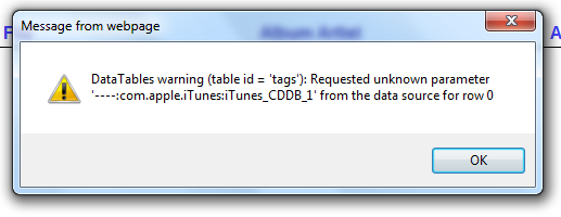 Error message requested unknown parameter shown when iTunes tags are in music files