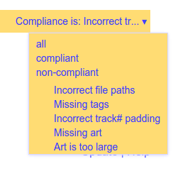 Compliance type filter