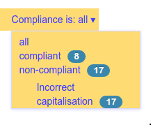 Count of compliance states