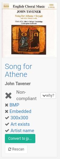 Non compliant album cover image format