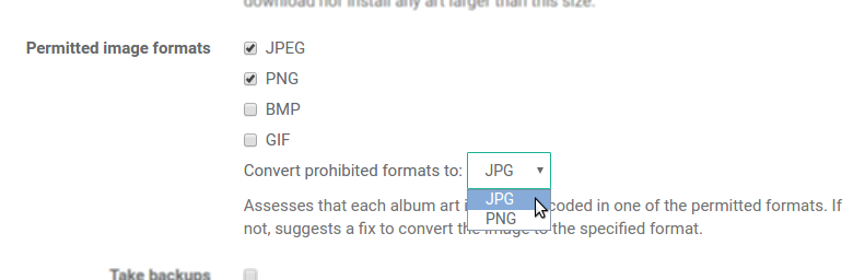 Only JPEG and PNG image formats permitted, transcode to JPEG