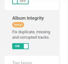 Album integrity setting