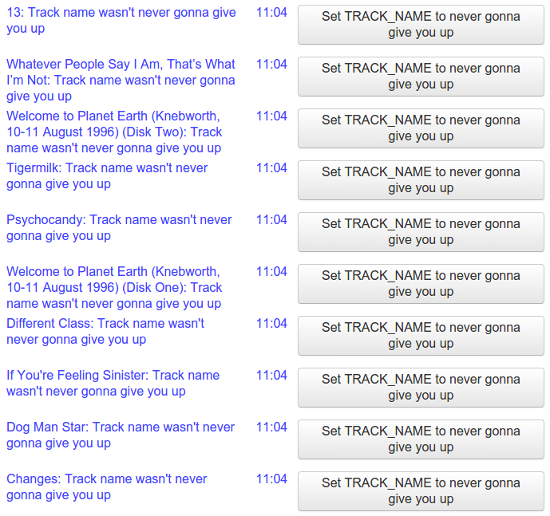 Fixes to rickroll my track names in the bliss inbox
