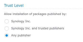 Set Trust Level to Any Publisher