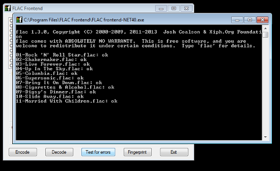 FLAC frontend test in progress