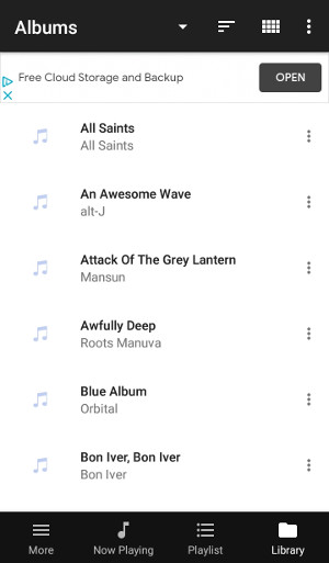 Albums view in BubbleUPnP served by Windows 10 DLNA server