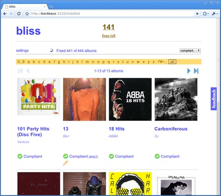 bliss is a fully automated organizer for all of your digital music album art.