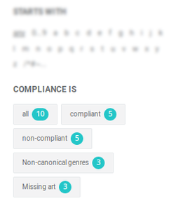 Changing the compliance filter on the Album overview page.