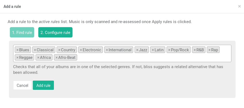 Enabling the genre consolidation rule, showing the default allowed list